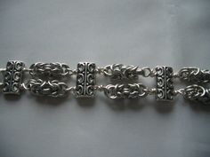 Byzantine Chainmaille bracelet in silver plated copper with silver tone spacer bars by ChiqueCornwall on Etsy