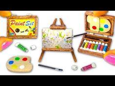 Video :   Atelier-Zubehör mit Farbtuben Palette Pinsel Staffelei gemalte Bilder Farbkasten aus Holz
