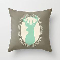 Stag Head Decorative Pillow, Deer Pillow, Nursery Decor, Custom plush pillow, throw pillow, home decor, Color Choice - 16 x 16