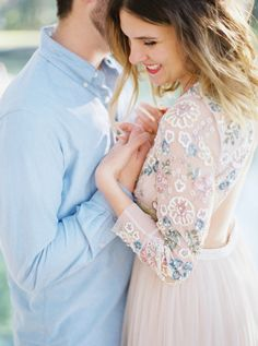 Blush beaded engagement session dress: Photography : Shannon Moffit Read More on SMP: http://www.stylemepretty.com/florida-weddings/2016/04/21/this-engagement-session-dress-needs-to-be-in-your-closet-asap/