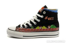 Super Mario Bros Converse All Star High Tops Black #converse