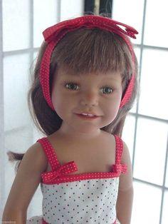 "Red Trimmed Dress for Diana Euro Doll Fits Sasha Magic Attic 18"" Slim Dolls | eBay"