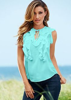 Cascading ruffle top from VENUS women's swimwear and sexy clothing. Order Cascading ruffle top for women from the online catalog or Simple Outfits, Cool Outfits, Summer Outfits, Latest Fashion For Women, Love Fashion, Fashion Outfits, Venus Swimwear, Mix And Match Bikini, Ruffle Top