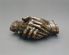 Clasped Hands of Robert and Elizabeth Barrett Browning Harriet Goodhue Hosmer (1830–1908) (One of America's first professional female sculptors)