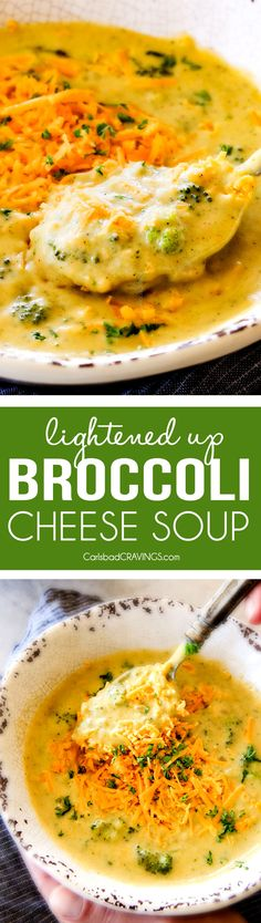This is the BEST Broccoli Cheese Soup ever - its so thick and creamy, I am shocked its lightened up!!! also SO FLAVORFUL, easy, and on your table in just over 30 minutes!