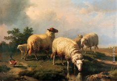Eugene Verboeckhoven Sheep And A Chicken In A Landscape painting anysize 50% off