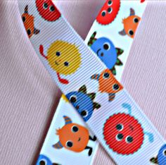 Mingling Monsters on white 7/8 inch grosgrain by IsamayDesigns, $1.55
