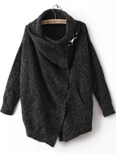 Looks like a cozy, curl-up sweater to me. | Black Lapel Long Sleeve Ouch Cardigan Sweater