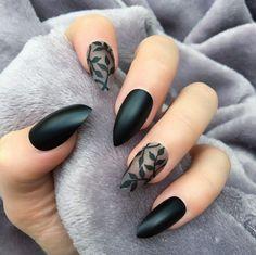 Black Matte Dainty Stiletto – Doobys Nails