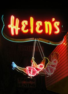 Helen's Children's Wear, Burnaby BC Canada. See it swing in this video clip: http://www.sfu.ca/~neelands/Neon/helen.mov