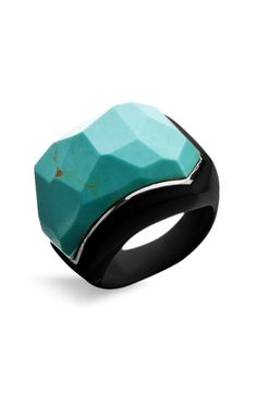 resin faceted semiprecious stone ring
