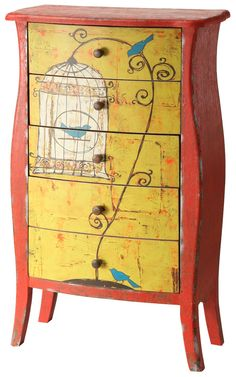 Whimsical and colourful, our Emily Little Chest of Drawers turns function into fantasy. Feature with a real bird cage to emphasize the frivolity.