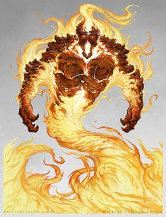 Fire Elemental - Pathfinder, Sally Gottschalk on ArtStation at https://www.artstation.com/artwork/o9AXJ
