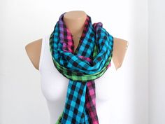 Plaid Women Shawl Scarf Cowl Scarf in Blue Pink by fizzaccessory, $14.00