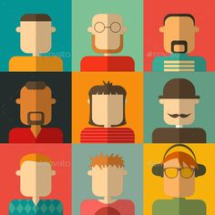 People Flat Icons Collection. Colorful Male Faces Set. Vector Illustration. EPS10. File has transparency.