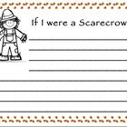 Cute scarecrow writing prompt with title at the top: If I were a scarecrow. Perfect for Fall themed writing!...