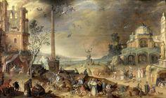 Claes Jacobsz. van der Heck | Witches' Sabbath, Allegory of Vice, Claes Jacobsz. van der Heck, 1636 | Heksensabbat. Fantasielandschap met antieke gebouwen en ruïnes waartussen zich allerlei monsters en gedrochten bevinden. Ook vliegen duivels en heksen door de lucht. Rechts een fontein, in het midden een obelisk en een beeld van een dikke duivel zittend op een wereldbol, links een open bouwwerk waarin beneden een gezelschap rond een tafel zit en boven monsters koken in een grote ketel.