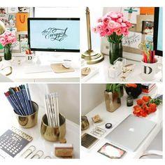 """""""Bom dia!!! Com ideias super charmosas para organizar seu ambiente de trabalho!!! Faz toda diferença começar o dia assim!!!! #job #work #office…"""""""