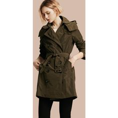 Burberry Taffeta Trench Coat with Detachable Hood (7.640 NOK) ❤ liked on Polyvore featuring outerwear, coats, taffeta coat, lightweight coat, double breasted coat, travel coat and lightweight trench coat