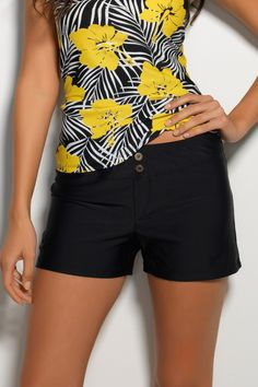 Black Cover-Up Board Shorts - Solid Black | Hapari Swimwear