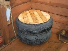 recycled old tyre storage for the garden.  #recycedtyres #aboutthegarden.com.au