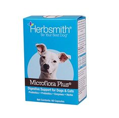 Herbsmith Microflora Plus Capsule for Pet Digestion, 60 Capsules Helps support proper digestion and bowel health Complete combination of probiotics, prebiotics, digestive enzymes and herbs Capsule form Average 30 day Supply based on a lb. Holistic Treatment, Capsule, Cat Treats, Best Dogs, Your Pet, Pet Supplies, Dog Cat, Pets
