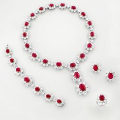 http://rubies.work/0204-ruby-rings/ Ruby, Diamond and 18K White Gold Parure