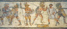 Gladiators from part of the Zliten mosaic from Libya (Leptis Magna), about 2nd century CE. It shows (left to right) a thraex fighting a murmillo, a hoplomachus standing with another murmillo (who is signaling his defeat to the referee), and one of a matched pair.
