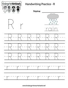 Kindergarten Letter R Writing Practice Worksheet Printable
