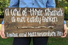wedding sign, a cord of three strands is not easily broken, rustic wedding sign, hand painted wedding sign
