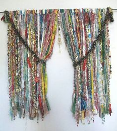 Bohemian Style Inspiration - Modern Confederate Army Gypsy curtains are made of frayed ties Gypsy Style, Boho Gypsy, Hippie Style, Bohemian Style, Bohemian Living, Hippie Boho, Gypsy Curtains, Beaded Curtains, Rag Curtains