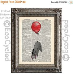 New to EcoCycled on Etsy: SALE Eeyore and the Red Balloon plain on Vintage Upcycled Dictionary Art Print Book Art Print Adventure Winnie the Pooh (8.50 USD)