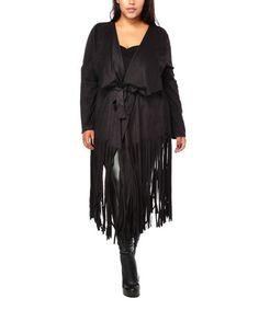 Look at this #zulilyfind! Black Fringe Tie-Front Long Jacket - Plus #zulilyfinds