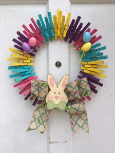Easter Clothespin Wreath Bunny Eggs Burlap Bow by QteBoutique