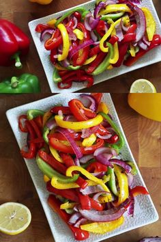 This easy recipe for oven roasted bell peppers is a healthy and simple side dish that takes only 20 minutes to get on the table! Learn how to easily roast peppers with this step by step tutorial and video! Oven Roasted Peppers, Roasted Red Pepper Pasta, How To Roast Peppers, Roasting Peppers In Oven, Cooking Peppers, Sweet Bell Peppers, Stuffed Sweet Peppers, Garlic Pesto Chicken, Vegan Easy