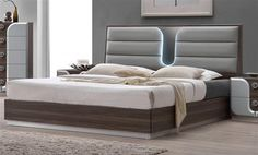 London Modern Beige Wood PU PVC King Size Bed