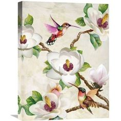 Global Gallery Terry Wang 'Magnolia and Humming Birds' Stretched Canvas Artwork