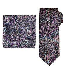 Men's Batik Bay Tie & Pocket Square, Brt Blue