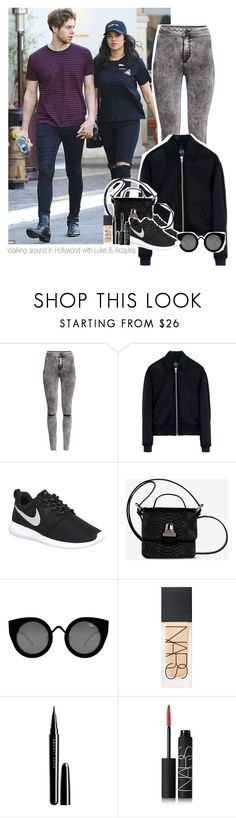 """Walking around in Hollywood with Luke & Arzaylea"" by thebestofcelebrities ❤ liked on Polyvore featuring H&M, McQ by Alexander McQueen, NIKE, MM6 Maison Margiela, Quay, NARS Cosmetics and Marc Jacobs"