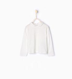 Imagem 1 de T-shirt algodão orgânico gola de bebé da Zara