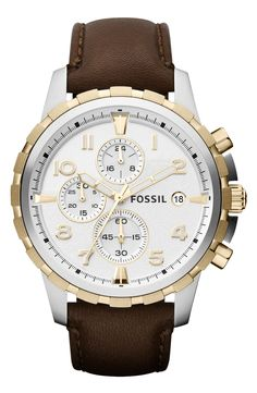 Fossil 'Dean' Chronograph Leather Strap Watch, 45mm