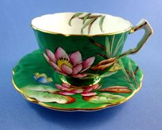 Emerald Green with Handpainted Water Lily Aynsley Tea Cup and Saucer Set