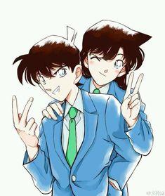 Shinichi Kudou And Ran Mouri Detective Conan Shinichi, Manga Detective Conan, Ran And Shinichi, Kudo Shinichi, Happy Tree Friends, Magic Kaito, Anime Demon, Anime Manga, Kaito Kid