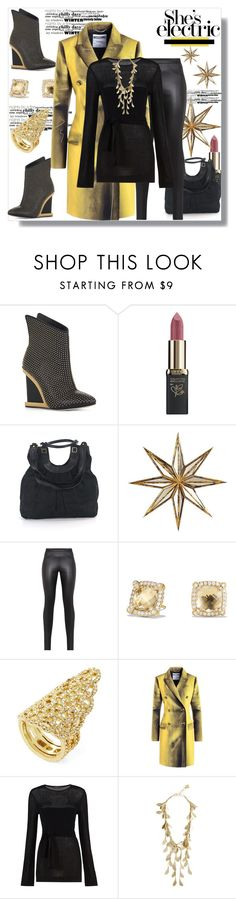"""""""She's Electric"""" by helenaymangual ❤ liked on Polyvore featuring BCBGMAXAZRIA, L'Oréal Paris, Pottery Barn, David Yurman and Moschino"""