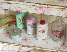 Vintage Home: Vanity Accessories and a Wallpapered Bookcase www.vintage-home.co.uk