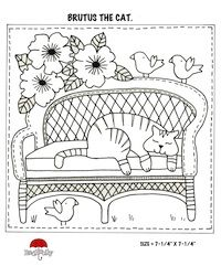 Red Brolly-Brutus the cat - Susan, these are embroidery patterns for a quilt.