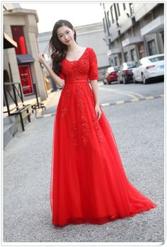 New Arrival Red Evening Dress,Appliques and Lace Prom