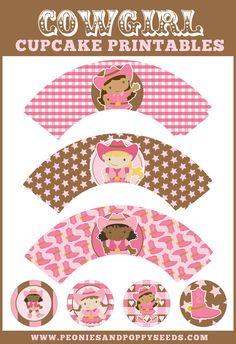 Free Cowgirl cupcake printables