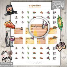 Thanksgiving Stickers, Planner Stickers - Thanksgiving planner stickers - Planner stamps for your Er