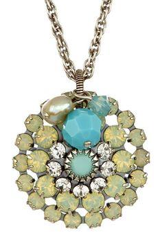 Freshwater Pearl & Swarovski Crystal Starburst Necklace by Liz Palacios
